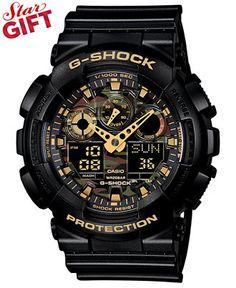 G-Shock Men's Analog-Digital Black Resin Strap Watch 55x51mm GA100CF-1A9 - G-Shock - Jewelry & Watches - Macy's