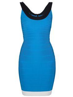 AshLee Frazier in Blue Herve Leger Tasha Color Block Dress | The Bachelor