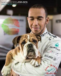 Lewis Hamilton & Roscoe. A friend indeed