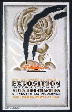 """Affiche de l'exposition Art déco de 1925 à Paris. Poster from the """"Exposition internationale des Arts Décoratifs et industriels modernes """" in 1925"""