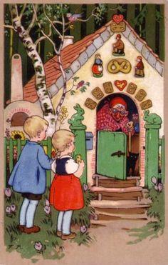 """""""Hansel and Gretel"""" Fritz Baumgarten postcard, 1942 Vintage Children's Books, Vintage Cards, Hansel Y Gretel, Baumgarten, Storybook Cottage, Vintage Fairies, Fairytale Art, Children's Book Illustration, Illustrations Posters"""