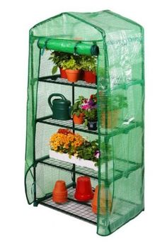 Lacewing 2ft3 x 1ft7 Reinforced 4 Tier Mini Greenhouse . $94.50. Shelves included. Quick and easy to assemble. Reinforced polyethylene cover will provide UV protection. Can be used all year round. Powder coated steel frame for longevity. Create the perfect growing environment for your plants with this 4 tier mini greenhouse. The compact design makes it ideal for propagating flowers and shrubs in gardens or allotments of a limited size. Keep an eye on the progress of your pla...