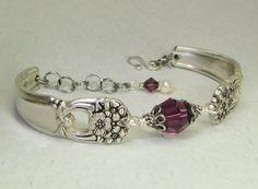 Silver Spoon Bracelet, Eternally Yours 1941, Amethyst Swarovski Crystals