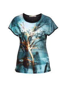 Metallic print jersey top in Petrol / Black designed by Studio to find in Category Shirts at navabi.de