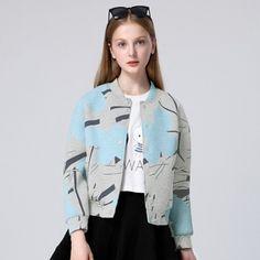 Flower bomber jacket gray blue jacket coat for women Printed Bomber Jacket, Makes You Beautiful, Sweet Style, Gray Jacket, Blue Grey, Autumn Fashion, Fashion Outfits, Flower, Coat