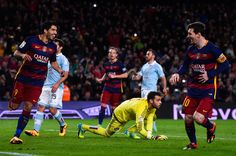 (L-R) Luis Suarez of FC Barcelona celebrates with his team mate Lionel Messi of FC Barcelona after scoring his team's fourth goal from the penalty spot during the La Liga match between FC Barcelona and Celta Vigo at Camp Nou on February 14, 2016 in Barcelona, Spain. Messi took the penalty, tapping the ball softly forward for Suarez to run up and score.