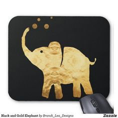 Black and Gold Elephant Mouse Pad
