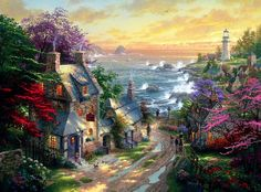 Thomas Kinkade. The Village Lighthouse.