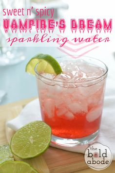I love this sweet n' spicy Vampire's Dream Sparkling water!  A bit of cinnamon and a pinch or two of ground red pepper mixed with pomegranate juice. So delish!