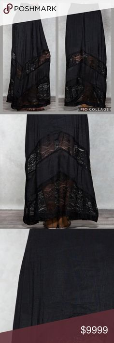 COMING SOON! Crochet Gauze Maxi Skirt This fashion maxi skirt comes in a gauze fabric that features crochet lace insets. Fits with elastic stretch waistband. Partially lined.  Body: 60% Rayon, 40% Polyester Contrast & Lining: 100% Polyester Skirts Maxi