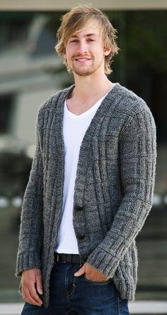 """Det flotte, """"ternede"""" strukturmønster giver ekstra karakter til denne lune trøje Mens Dress Outfits, Mom Outfits, Sweater Jacket, Men Sweater, Knit Cardigan, Little Girl Fashion, Mens Clothing Styles, Pulls, Sweaters For Women"""