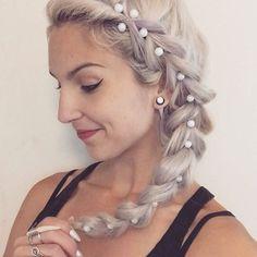 Pearly pull through Pt II ⚪️⚪️⚪️ #behindthechair #modernsalon #fckinghair #authentichairarmy #braidgoals #pullthroughbraid #dutchbraid #braidstyles #braids #braidupdo #braidedupdo #sidebraid #pearls #whitehair #whiteblonde #blondebraids #hairgoals #girlswithgauges #wingedliner #fancyhands #beautylaunchpad #unicorntribe #hairoftheday #instahair #khaleesihair #bleachitagain #whenindoubtbleachitout #schwarzkopf #brazilianbondbuilder #redken