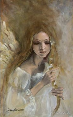"""Silence"" (2011), By Dorina Costras, Arcylic on Canvas, Angels Series. Bacau, Romania. Artist's Website: http://www.decorative.ro/ #angels"