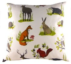 Dunham Multi Animal Filled Cushion Fox Hedgehog Hare Stag Badger Squirrel