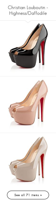 """""""Christian Louboutin - Highness/Daffodile"""" by enchantedxox ❤ liked on Polyvore featuring shoes, pumps, heels, christian louboutin, sapatos, black, platforms, women, high heel pumps and black shoes"""