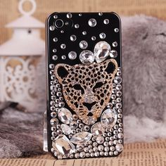 Cool cheetah head big crystal cell phone set iphone by emma999, $29.50