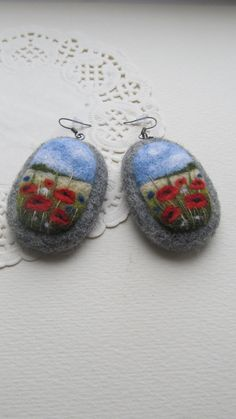 Needle felted Earrings with embroideryWool felt by FeltAccessories