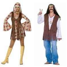 His and hers 1970s hippie costumes