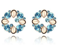 Ninabox ® 18K Rose Gold Plated Alloy Earrings with Light Blue Swarovski Elements. For Sale Now. EIG2538WB