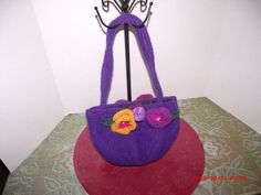 Hand knitted wool Felted purse purple lined by FaerieCottageCrafts, $40.00
