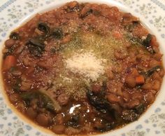 Swiss Chard & Lentils Soup Served with Extra Virgin Olive Oil and Parmesan