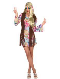 Disfraz hippie con rosetones muticolor mujer: Este disfraz de hippie con rosetones multicolor es para mujer.Incluye un vestido y un pañuelo ( zapatos gafas y peluca no incluidos).El vestido es muy cómodo y simula un chaleco de...
