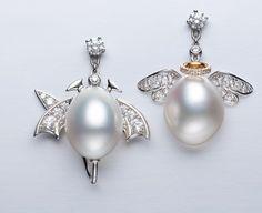 Gimel. Via Elena Veselaya (@twentyonejewels) on Instagram: Angel and Devil earrings with pearls and diamonds, by Gimel.