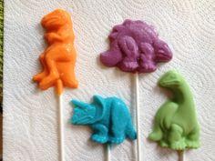24 Dinosaur Theme DINO DAN Chocolate Lollipop Party Favors Boy or Girl. $36.00, via Etsy.