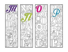 Make reading fun with this awesome set of monogram alphabet printable bookmark coloring pages, which are available in my shop, or in my Etsy shop: DJPenscript. These printable bookmarks m… Alphabet Coloring Pages, Colouring Pages, Printable Coloring Pages, Coloring Sheets, Alphabet Art, Corner Bookmarks, How To Make Bookmarks, Zentangle, Monogramm Alphabet