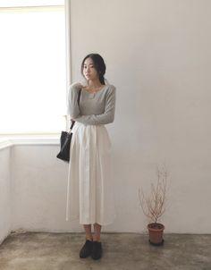 [reflower] 보나벨트롱스커트 / women's stylish belt long-skirt : 리플라워