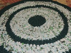 "Hand Made Crochet Rag Rug ~NEW 32"" Round EVERGREEN Shabby Country!  #RagRugPrimitive"