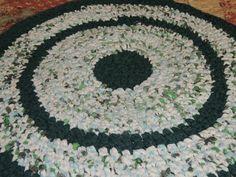 "Hand Made Crochet Rag Rug ~NEW 32"" Round EVERGREEN Shabby Country!  #crochetragrug"