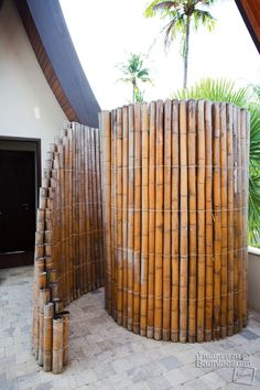 God this is gorgeous.... maybe someday!!!! Walk in bamboo shower, perfect for solar shower bag anywhere in the yard