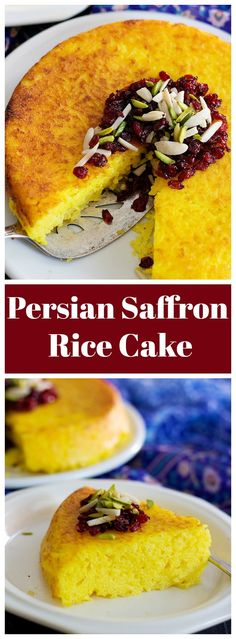Persian Savory Saffron Cake - Tahchin is a very delicious traditional Persian rice dish full of saffron and great flavors. It is usually served with chicken in tomato sauce. Saffron Cake, Persian Rice, Cake Recipes, Dessert Recipes, Roh Vegan, Arabic Food, Arabic Dessert, Arabic Sweets, Iranian Food