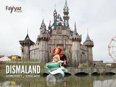 """#Dismaland was a temporary #art project organised by street artist #Banksy, constructed in the seaside resort town of Weston-super-Mare in #Somerset, #England. Prepared in secret, the pop-up #exhibition at the Tropicana, a disused lido, was """"a sinister twist on Disneyland"""" that lasted 36 days. Many celebrities were attracted to the venue, some international, such as Hollywood's Jack Black, Nicholas Hoult, Russell Brand and Daddy G."""