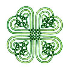 Celtic Weave Shamrock Watercolor Illustration, St. Patrick's Day Art: Fine Art Prints, ACEO Prints, Note Cards, Greeting Cards by SaylorWolfWatercolor on Etsy https://www.etsy.com/listing/182206123/celtic-weave-shamrock-watercolor