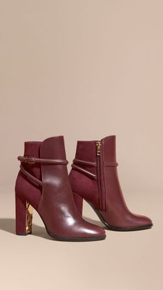 Oxblood Strap Detail Leather and Suede Ankle Boots - Image 1