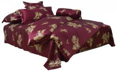 Amazon.com - ColourSilk 100% Silk 4 Piece Bedding Set Fuchsia Printed Golden yellow Rose Pattern: 2-030