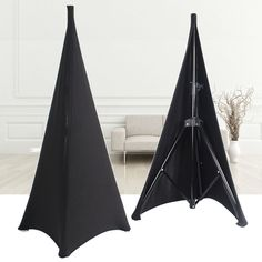 2X Black Lycra Spandex DJ Tripod Speaker Stand Scrim Stretch Cover Double Sided