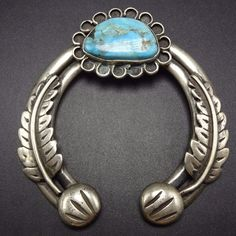Heavy Vintage NAVAJO Sterling Silver & Turquoise NAJA PENDANT Applied Leaves