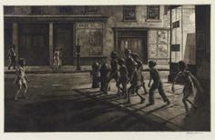 """Another wonderful etching from Martin Lewis, this one titled """"Bedford Street Gang"""" and dating to 1935. The theater wall says """"44th Street,"""" but this corner looks an awful lo…"""