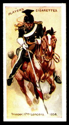 """#46 - 17th Lancers-Trooper, 1854 - Player's Cigarettes """"Regimental Uniforms"""" (series of 50 with Brown Backs issued in 1914) 