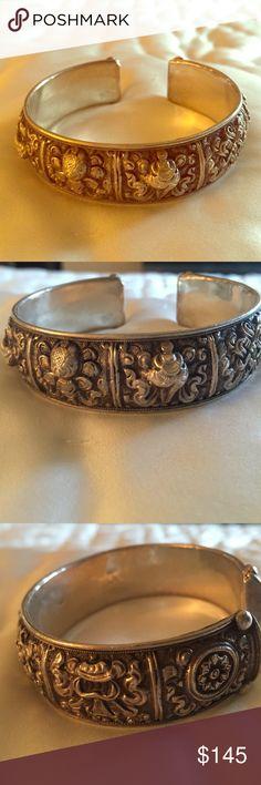 Bhutanese sterling silver bracelet Gorgeous detail to this sterling silver bracelet purchased in Bhutan Antique vintage Jewelry Bracelets