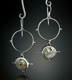 Fordite Earrings. Fabricated Sterling Silver.  www.amybuettner.com https://www.facebook.com/pages/Metalsmiths-Amy-Buettner-Tucker-Glasow/101876779907812?ref=hl https://www.etsy.com/people/amybuettner http://instagram.com/amybuettnertuckerglasow