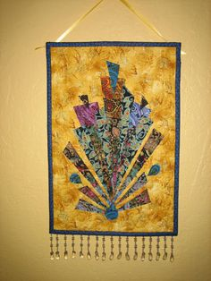 Art Quilt Art Deco Turquoise and Fuchsia Wall by TahoeQuilts, $46.00
