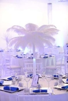 8 Ostrich Feather Centerpieces $550