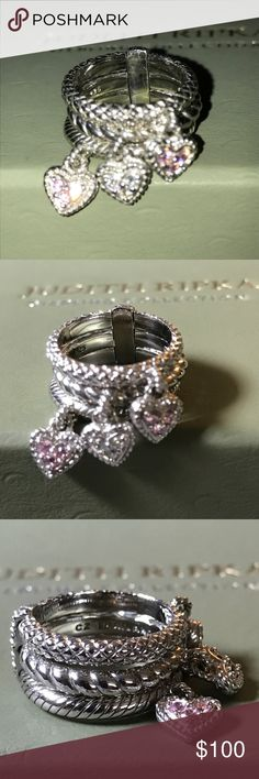 💝JUDITH RIPKA 3 PAVE' DANGLE HEART•STACK RING💝 💗JUDITH RIPKA PINK➕CLEAR PAVE' DANGLE HEART STACK RING WITH DIAMONIQUE STONES ON EACH HEART! 925 STERLING SILVER Fully Hallmarked Size: 5 (I believe, will measure it tonight) Pre-loved, in EUC!💗 Judith Ripka Jewelry Rings