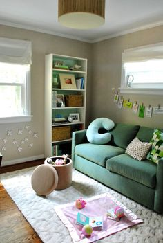 Another idea from @Sherry @ Young House Love that we are 'borrowing' is this multi-function 3rd bedroom - Office work space/guest bedroom/ and playroom for the kids all in one. Amazing!!
