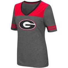 Colosseum Athletics Women's University of Georgia Twist V-neck 2.3 T-shirt (Charcoal, Size X Large) - NCAA Licensed Product, NCAA Women's at Academ...