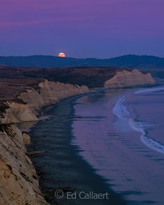 Moonrise, Drake's Beach, Point Reyes National Seashore, Marin County California